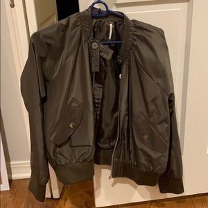 a green free people bomber jacket